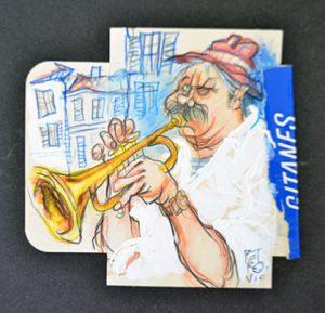 Straßenmusikant mit Trompete